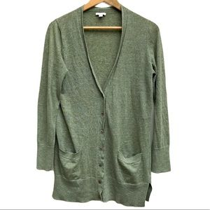Gap Green Linen Cardigan Sweater Women's Sz M